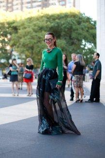Sheer dark blue overlay and green sweater new york fashion week womens street style september 2012 final