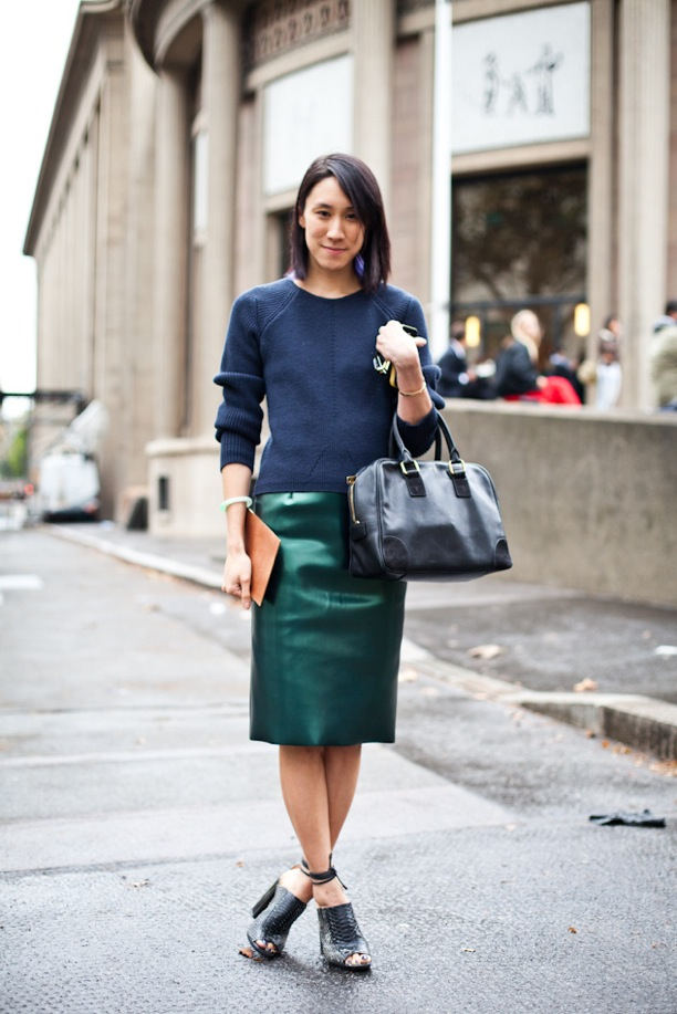 Street Style Fashion Week Vinyl High Shine Pencil Skirt Skirts Eva Chen Beauty Editor Green