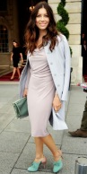 PastelCoat- Jessica Biel made her way to the spring Valentino show in a gathered sheath, tailored coat and seafoam green accessories_