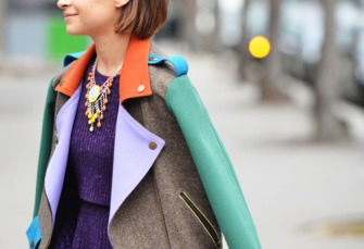 bright colors fashion trend Fashion Week street style Miroslava Duma color block perfecto jacket 005