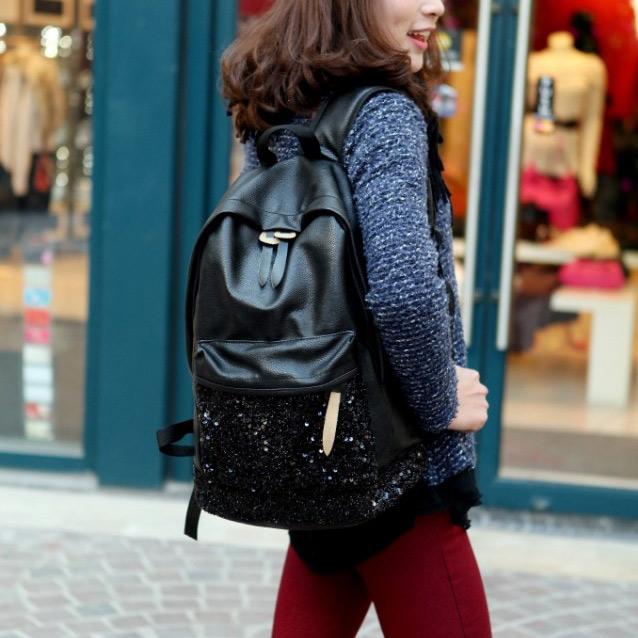 90b406c9b86 Korean-style-black-leather-bags-women-backpack -2014-fashion-bookbag-sequin-school-backpacks-casual-travel-shoulder