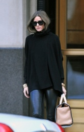 Olivia Palermo sports new haircut and wears leather pants in Brooklyn, New York