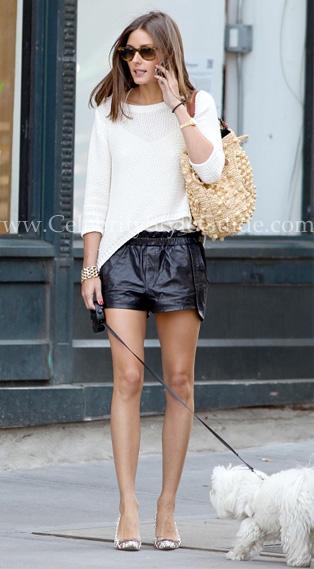 Olivia-Palermo-rocks-Rebecca-Minkoff-Mika-Leather-Shorts-