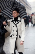 STREET-STYLE-FASHION-WEEK-STRIPE-UMBRELLA-STRIPED-UMBRELLAS-GIOVANNA-BATTAGLIA-MOHAIR-CASHMERE-BLACK-LINED-CREAMOFF-WHITE-COAT-FLOWER-EARRINGS-RINGS