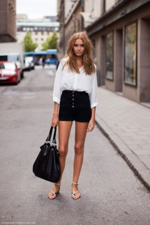 glamor-vintage-street-style-white-black-paula-joye-black-high-waisted-shorts-white-shirt