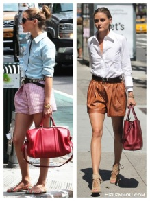 The-art-of-accessorizing-Olivia-Palermo-street-style-denim-chambray-shirt-red-tote-brown-leather-shorts-cut-out-sandal